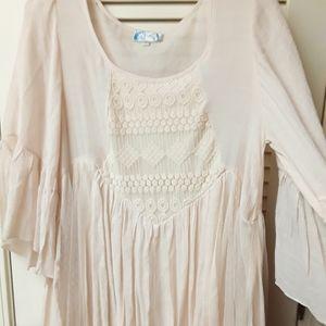 Boho White Cream Flowy Fairy Peasent Dress M L